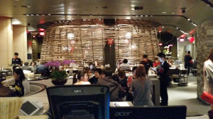 There are more seats inside the wicker cage and more behind that. It's a pretty big dining room.